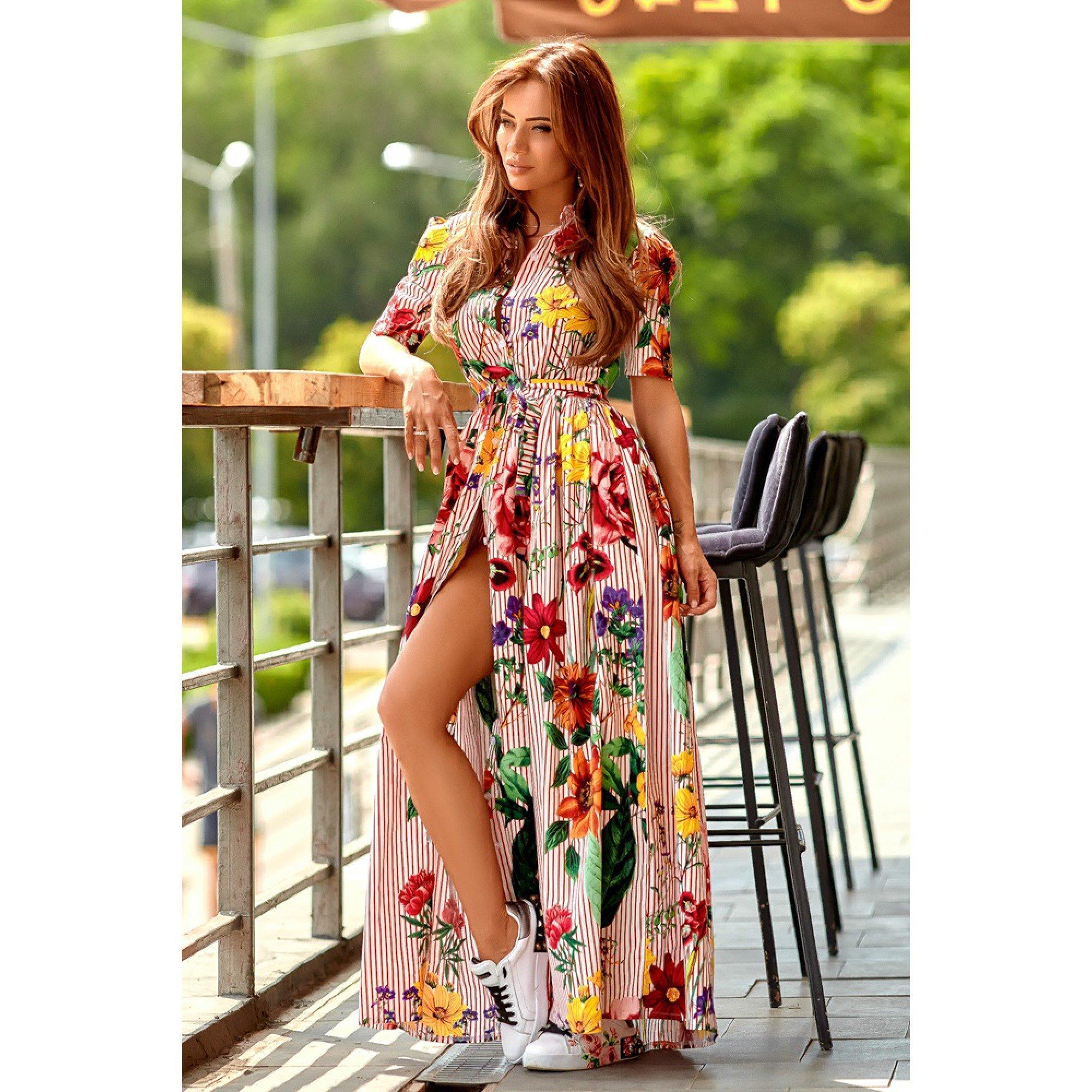 802201f44a3b Bavlnené letné dlhé šaty červené • Papi.sk
