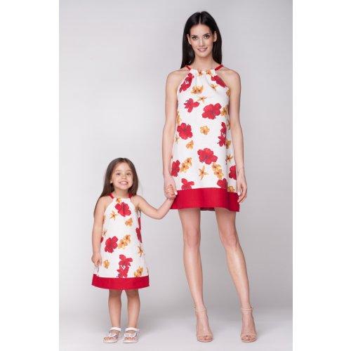 Flowers-letné ľanové šaty červené • Papi.sk 4db10574912